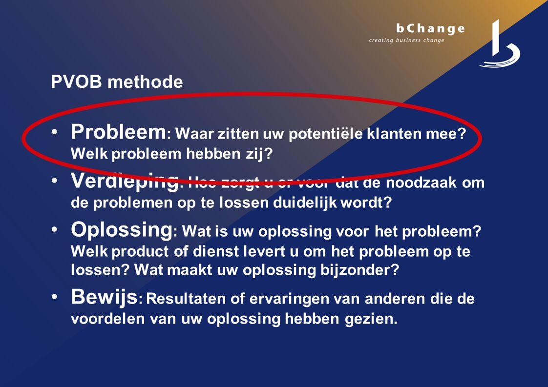 PVOB methode Probleem : Waar zitten uw potentiële klanten mee.
