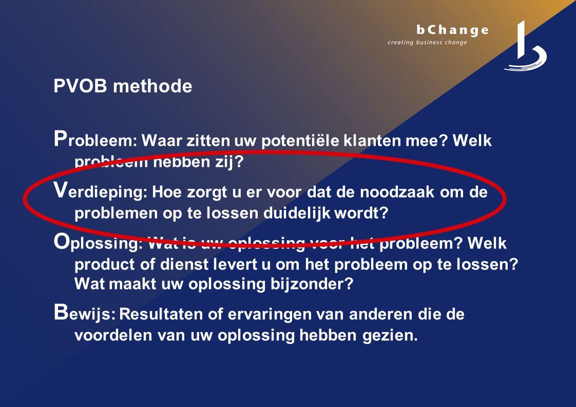 PVOB methode P robleem: Waar zitten uw potentiële klanten mee.