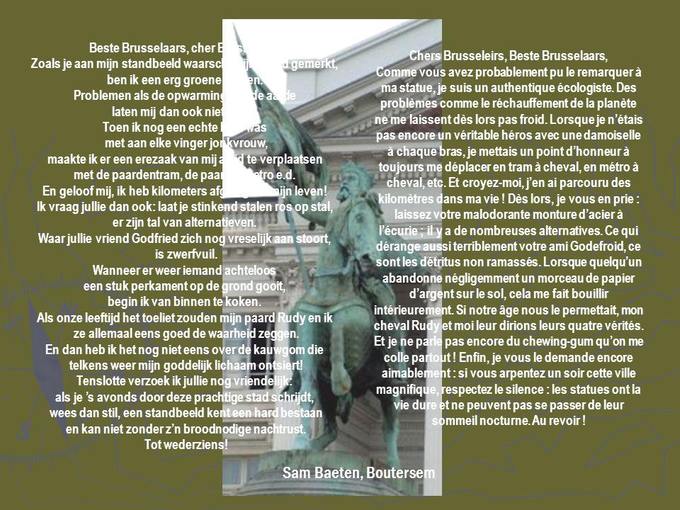 Beste Brusselaars, cher Brusseleirs. Zoals je aan mijn standbeeld waarschijnlijk al had gemerkt, ben ik een erg groene jongen. Problemen als de opwarm