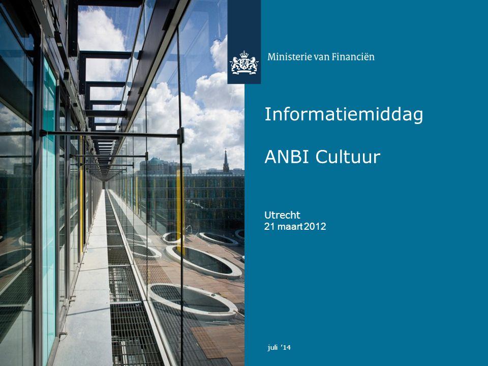 Informatiemiddag ANBI Cultuur Utrecht 21 maart 2012 juli '14