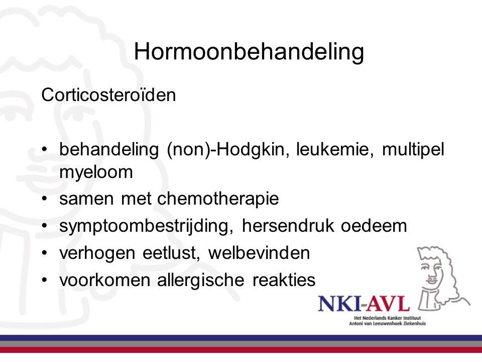 Corticosteroïden behandeling (non)-Hodgkin, leukemie, multipel myeloom samen met chemotherapie symptoombestrijding, hersendruk oedeem verhogen eetlust