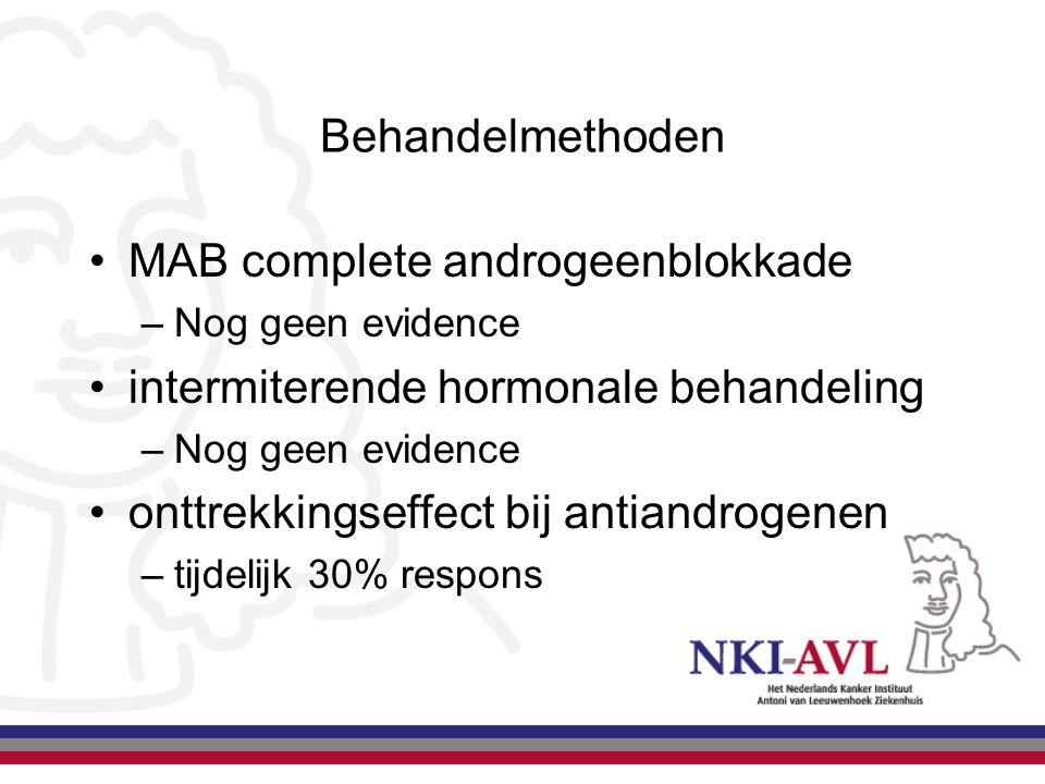 Behandelmethoden MAB complete androgeenblokkade –Nog geen evidence intermiterende hormonale behandeling –Nog geen evidence onttrekkingseffect bij anti