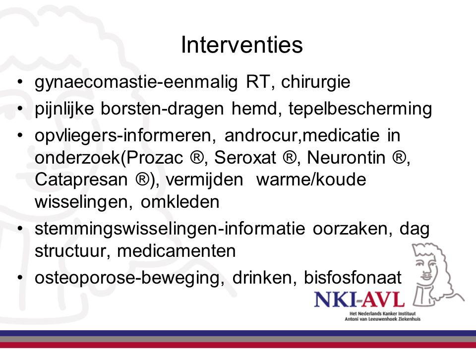 Interventies gynaecomastie-eenmalig RT, chirurgie pijnlijke borsten-dragen hemd, tepelbescherming opvliegers-informeren, androcur,medicatie in onderzo