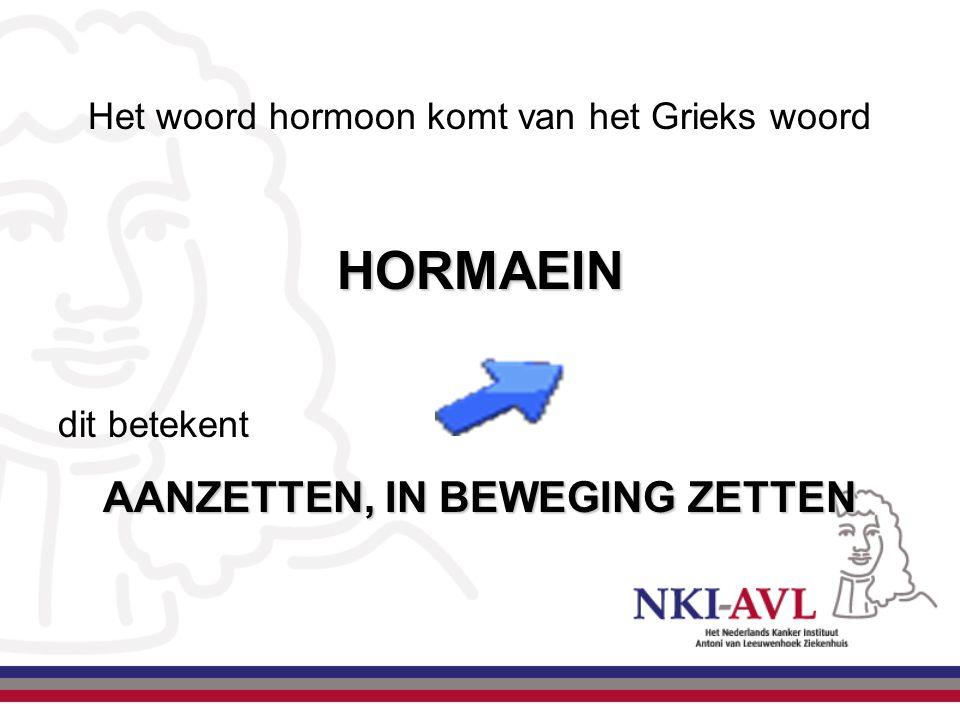 Het woord hormoon komt van het Grieks woordHORMAEIN dit betekent AANZETTEN, IN BEWEGING ZETTEN