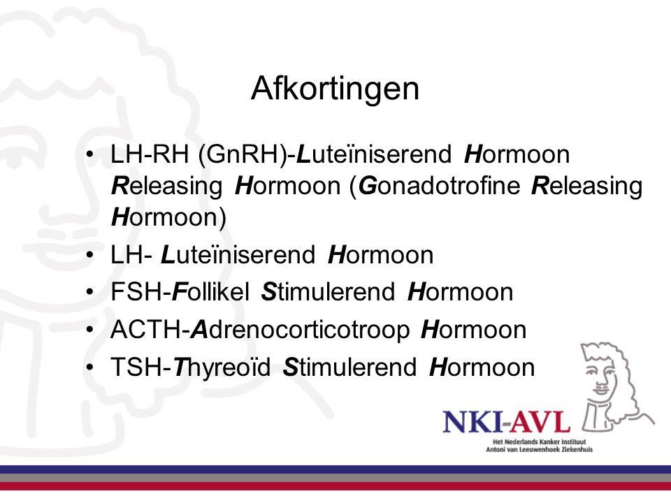 Afkortingen LH-RH (GnRH)-Luteïniserend Hormoon Releasing Hormoon (Gonadotrofine Releasing Hormoon) LH- Luteïniserend Hormoon FSH-Follikel Stimulerend
