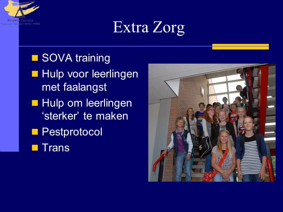 Extra Zorg SOVA training Hulp voor leerlingen met faalangst Hulp om leerlingen 'sterker' te maken Pestprotocol Trans