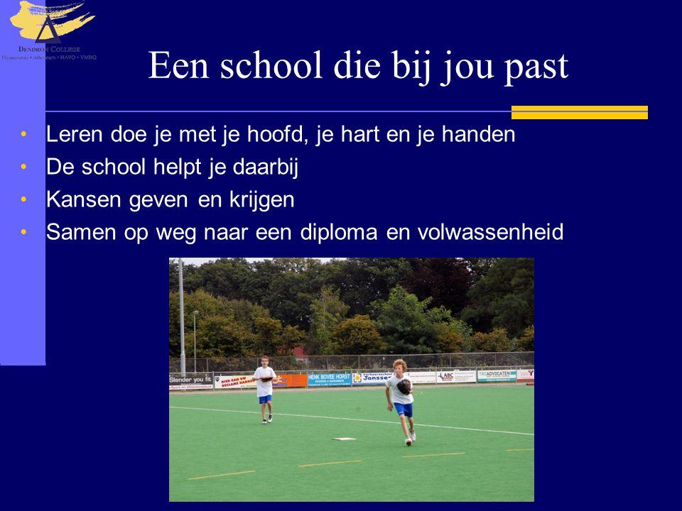 Een school die bij jou past Leren doe je met je hoofd, je hart en je handen De school helpt je daarbij Kansen geven en krijgen Samen op weg naar een d