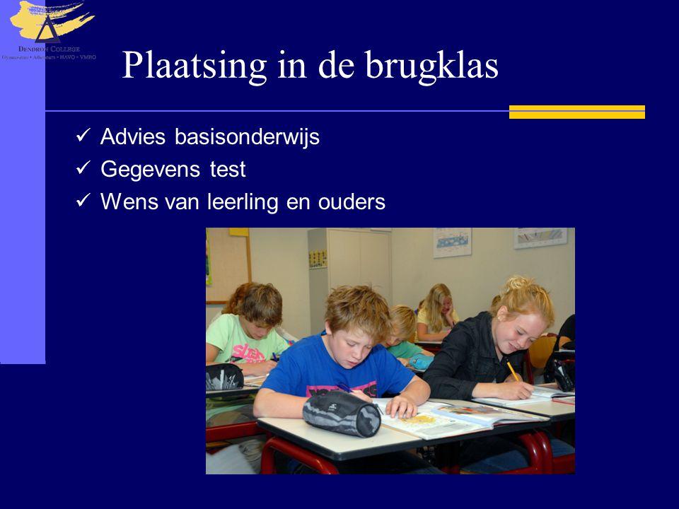 Plaatsing in de brugklas Advies basisonderwijs Gegevens test Wens van leerling en ouders