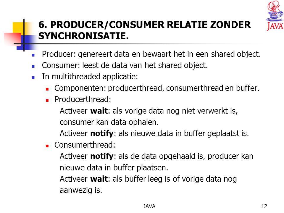 JAVA12 6. PRODUCER/CONSUMER RELATIE ZONDER SYNCHRONISATIE.