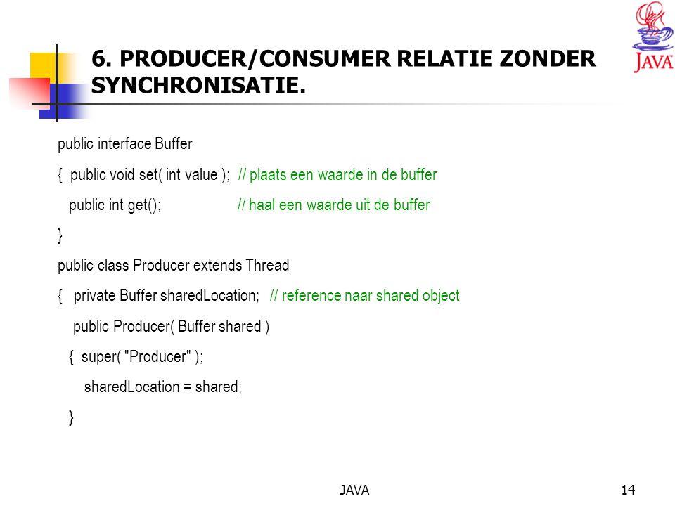 JAVA14 6. PRODUCER/CONSUMER RELATIE ZONDER SYNCHRONISATIE.