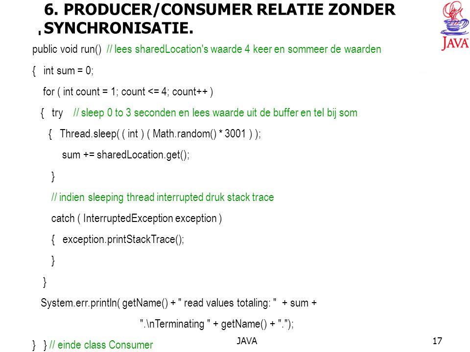 JAVA17 6. PRODUCER/CONSUMER RELATIE ZONDER SYNCHRONISATIE.