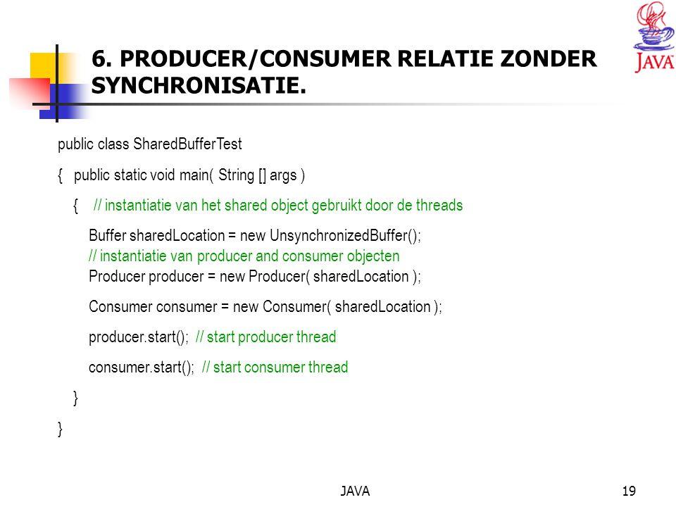 JAVA19 6. PRODUCER/CONSUMER RELATIE ZONDER SYNCHRONISATIE.