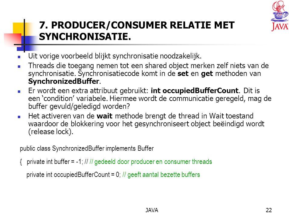 JAVA22 7. PRODUCER/CONSUMER RELATIE MET SYNCHRONISATIE.