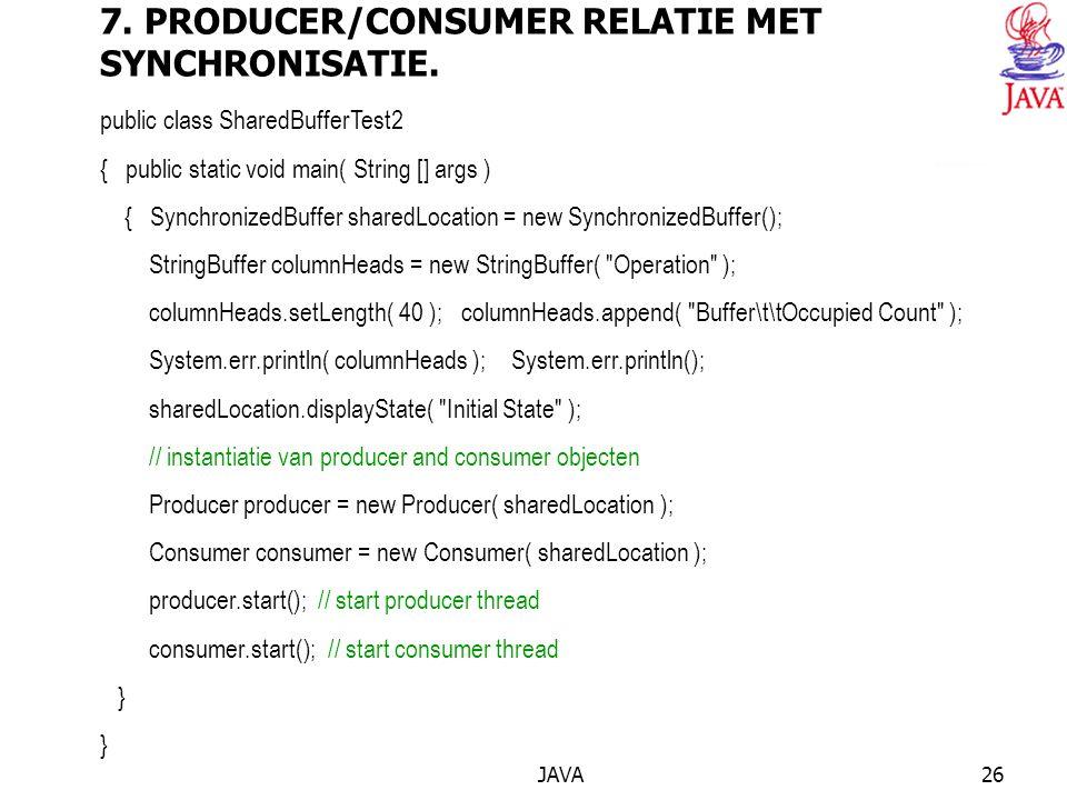 JAVA26 7. PRODUCER/CONSUMER RELATIE MET SYNCHRONISATIE.