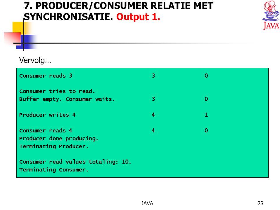 JAVA28 7. PRODUCER/CONSUMER RELATIE MET SYNCHRONISATIE.