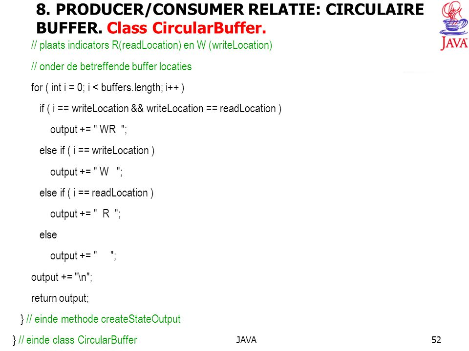 JAVA52 8. PRODUCER/CONSUMER RELATIE: CIRCULAIRE BUFFER.