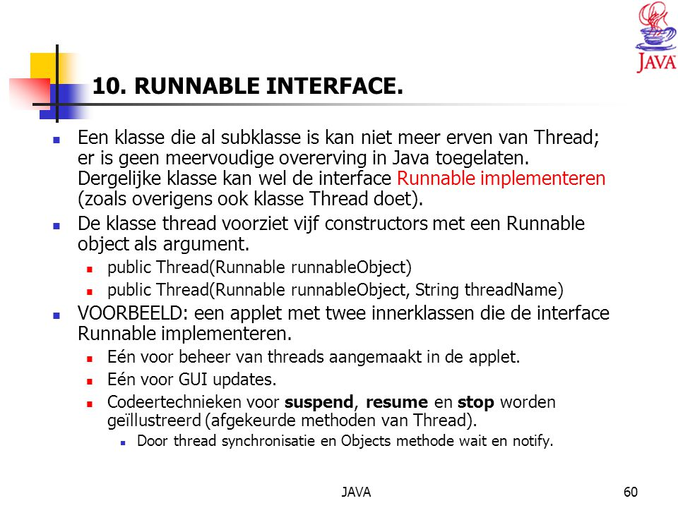JAVA60 10. RUNNABLE INTERFACE.