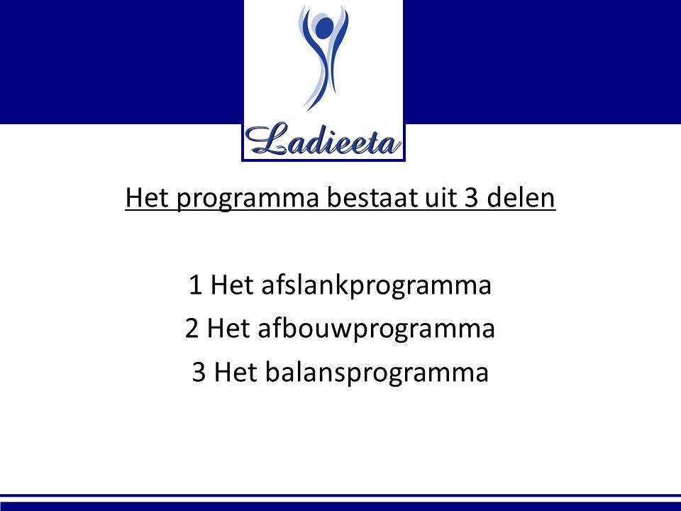 Het programma bestaat uit 3 delen 1 Het afslankprogramma 2 Het afbouwprogramma 3 Het balansprogramma