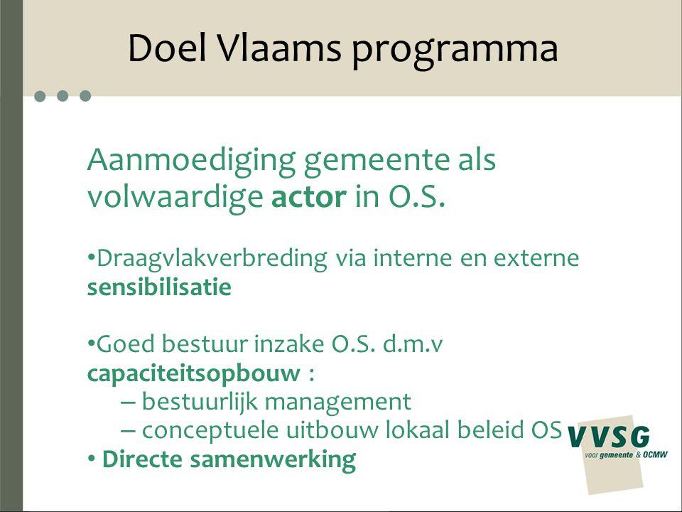 Doel Vlaams programma Aanmoediging gemeente als volwaardige actor in O.S.
