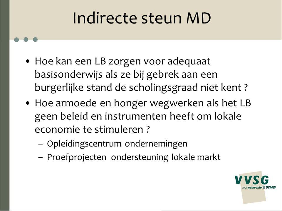 Indirecte steun MD Hoe kan een LB zorgen voor adequaat basisonderwijs als ze bij gebrek aan een burgerlijke stand de scholingsgraad niet kent .