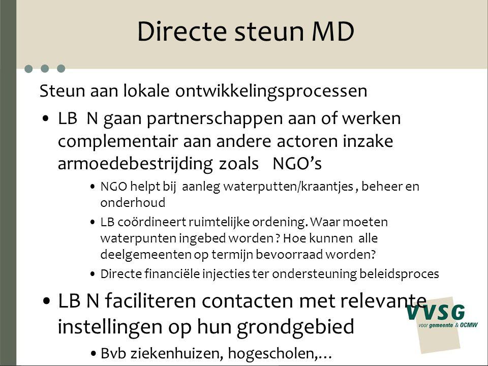 Directe steun MD Steun aan lokale ontwikkelingsprocessen LB N gaan partnerschappen aan of werken complementair aan andere actoren inzake armoedebestrijding zoals NGO's NGO helpt bij aanleg waterputten/kraantjes, beheer en onderhoud LB coördineert ruimtelijke ordening.