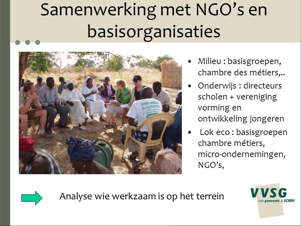 Samenwerking met NGO's en basisorganisaties Milieu : basisgroepen, chambre des métiers,..