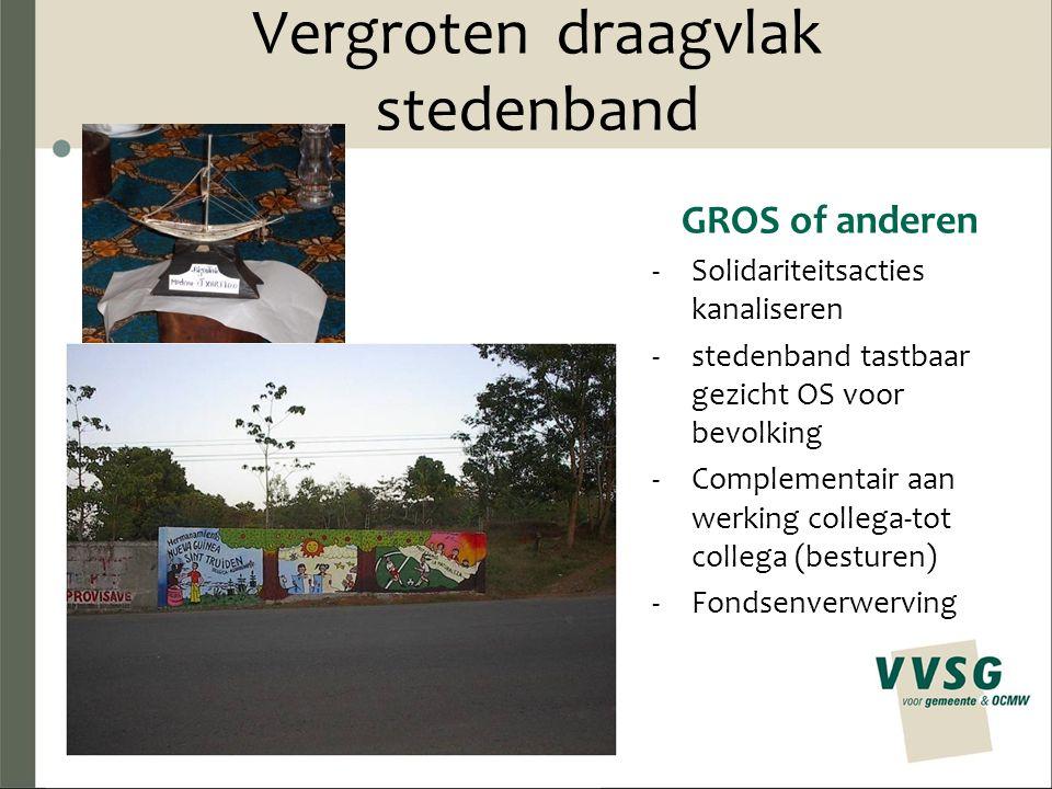 Vergroten draagvlak stedenband GROS of anderen -Solidariteitsacties kanaliseren -stedenband tastbaar gezicht OS voor bevolking -Complementair aan werking collega-tot collega (besturen) -Fondsenverwerving