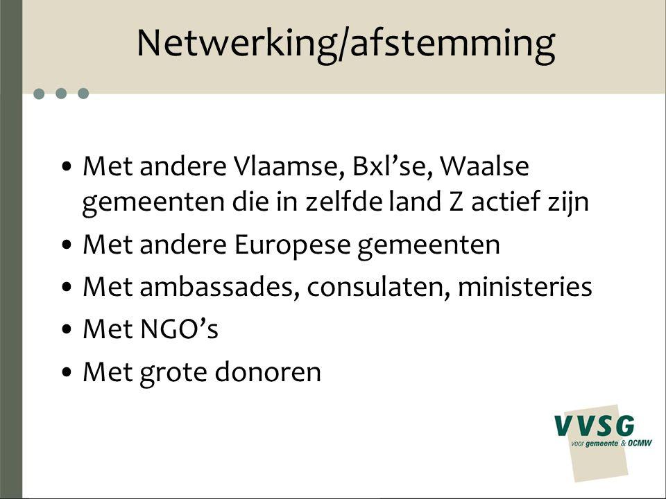 Netwerking/afstemming Met andere Vlaamse, Bxl'se, Waalse gemeenten die in zelfde land Z actief zijn Met andere Europese gemeenten Met ambassades, consulaten, ministeries Met NGO's Met grote donoren