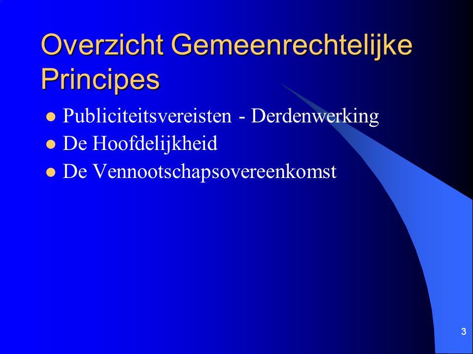 3 Overzicht Gemeenrechtelijke Principes Publiciteitsvereisten - Derdenwerking De Hoofdelijkheid De Vennootschapsovereenkomst