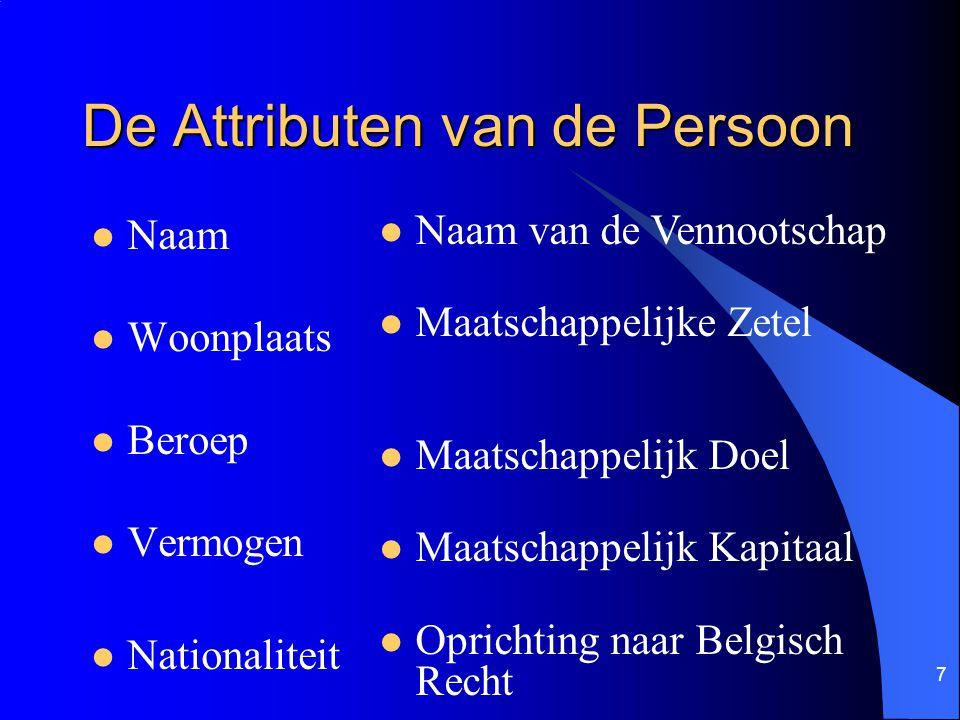 7 De Attributen van de Persoon Naam Woonplaats Beroep Vermogen Nationaliteit Naam van de Vennootschap Maatschappelijke Zetel Maatschappelijk Doel Maat