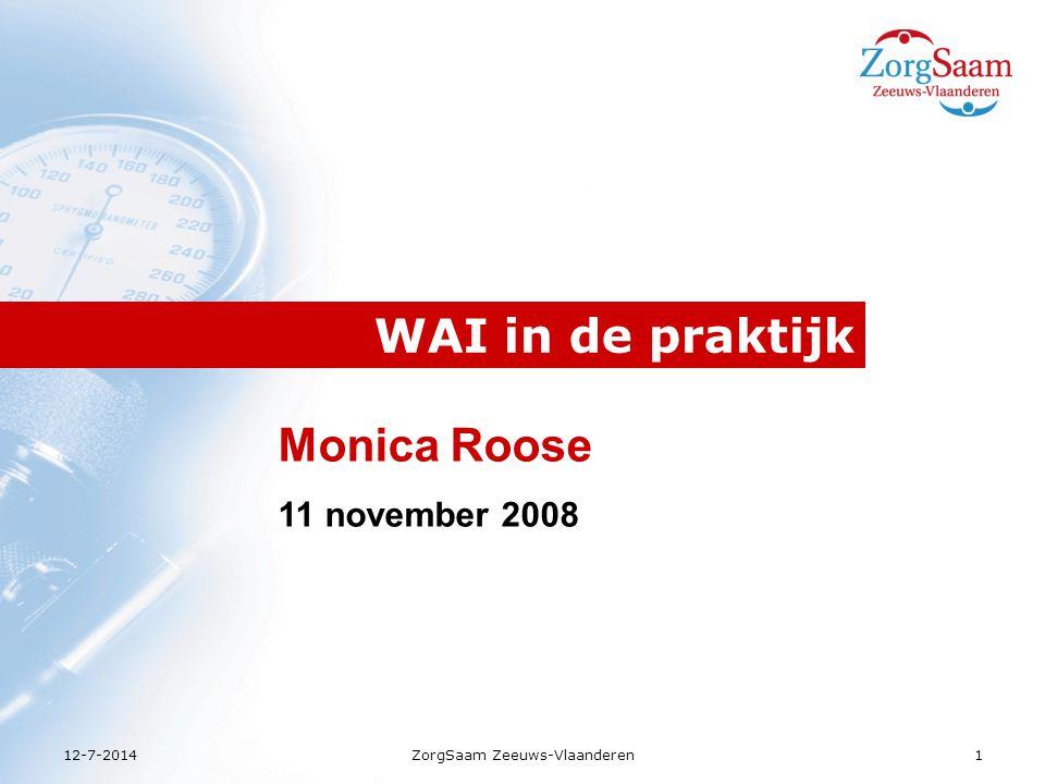 12-7-2014ZorgSaam Zeeuws-Vlaanderen1 WAI in de praktijk Monica Roose 11 november 2008