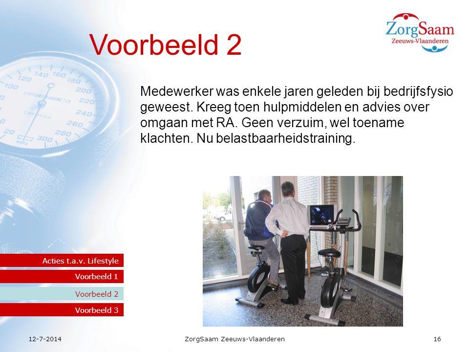 12-7-2014ZorgSaam Zeeuws-Vlaanderen16 Voorbeeld 2 Voorbeeld 1 Acties t.a.v.