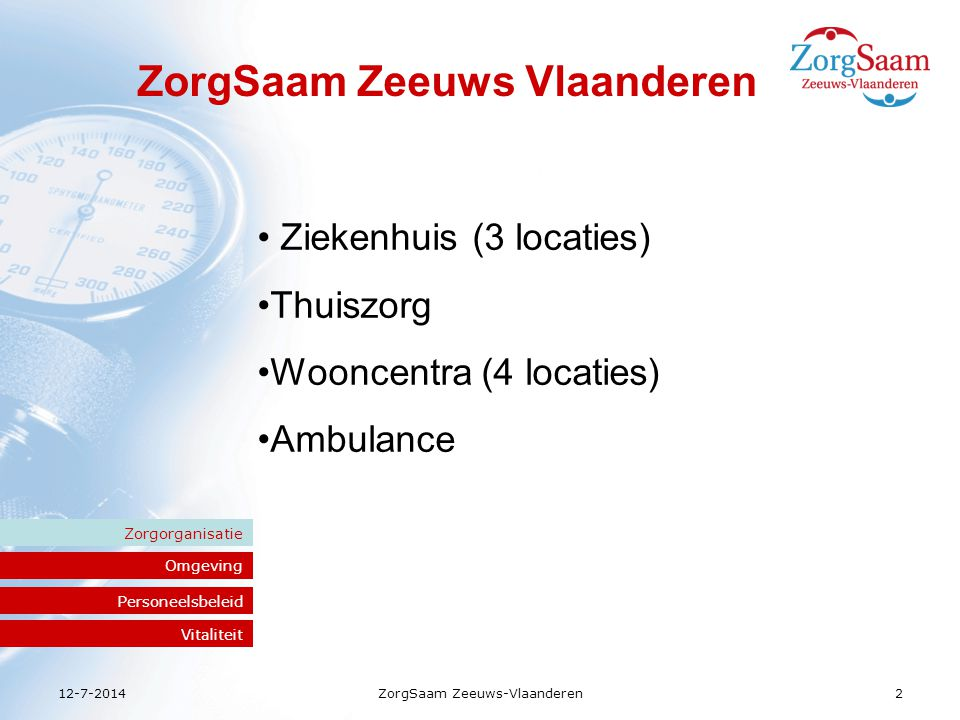 12-7-2014ZorgSaam Zeeuws-Vlaanderen3 Omgeving Zorgorganisatie Medewerkers Personeelsbeleid