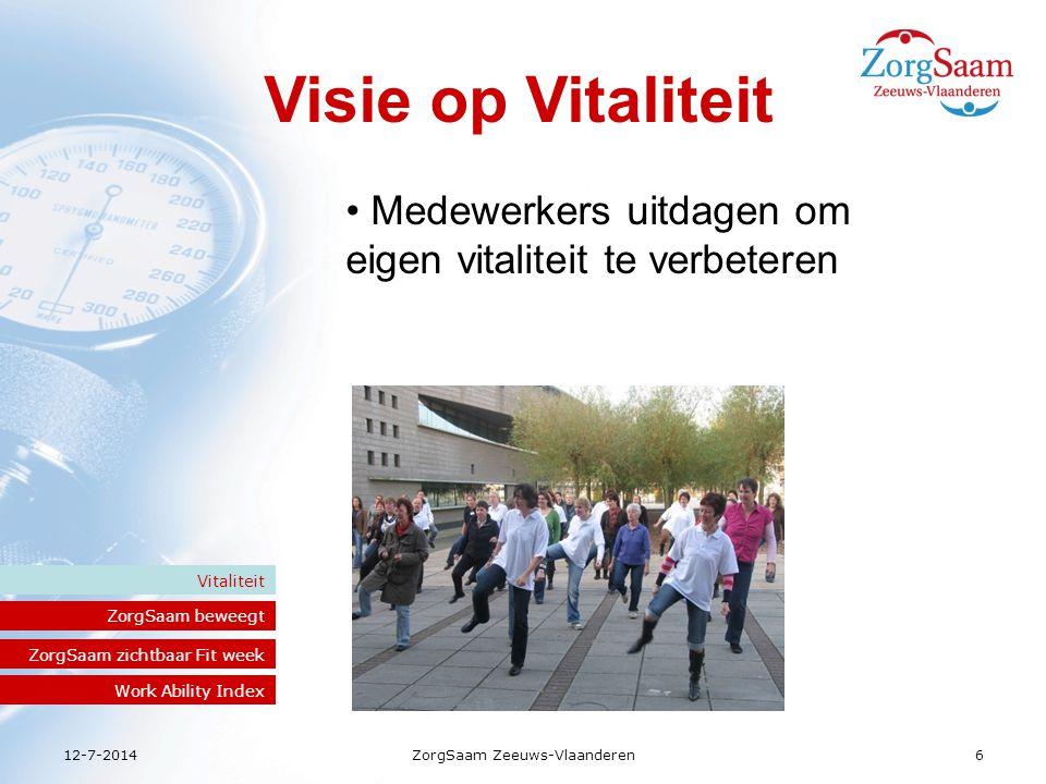 12-7-2014ZorgSaam Zeeuws-Vlaanderen6 Visie op Vitaliteit ZorgSaam beweegt Vitaliteit ZorgSaam zichtbaar Fit week Work Ability Index Medewerkers uitdagen om eigen vitaliteit te verbeteren