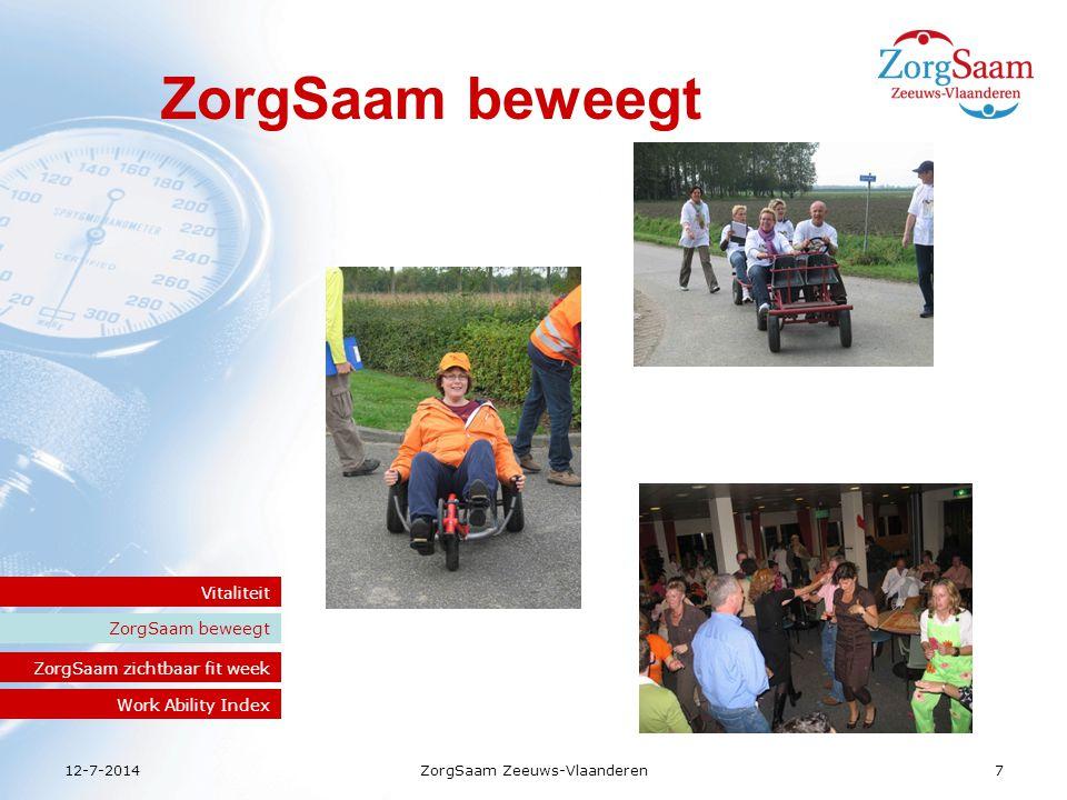 12-7-2014ZorgSaam Zeeuws-Vlaanderen 8 ZorgSaam beweegt Vitaliteit ZorgSaam zichtbaar fit week Saam Work Ability Index 1800 enthousiaste deelnemers 80% medewerkers wilde meer activiteiten Vanaf 2009 een jaarlijks evenement Zichtbaar fit week