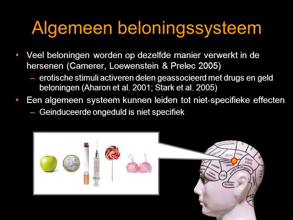 Algemeen beloningssysteem Veel beloningen worden op dezelfde manier verwerkt in de hersenen (Camerer, Loewenstein & Prelec 2005) –erotische stimuli activeren delen geassocieerd met drugs en geld beloningen (Aharon et al.