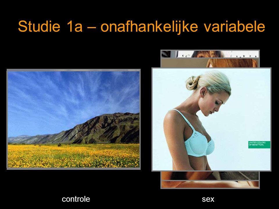 Studie 1a – onafhankelijke variabele controlesex