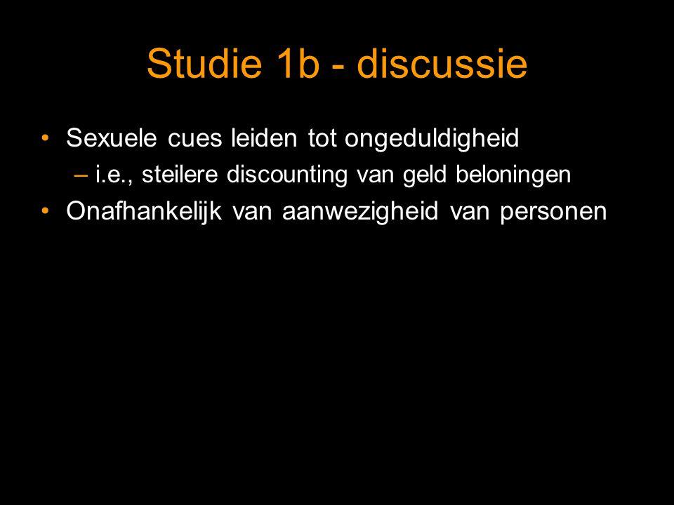 Studie 1b - discussie Sexuele cues leiden tot ongeduldigheid –i.e., steilere discounting van geld beloningen Onafhankelijk van aanwezigheid van personen
