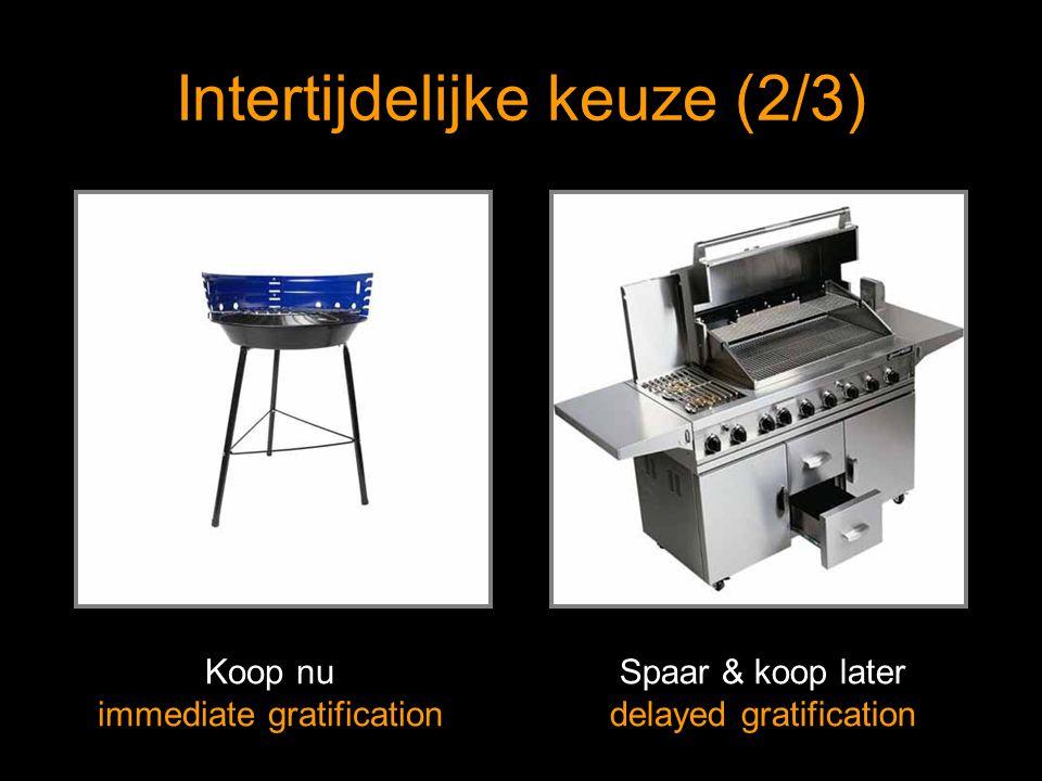 Intertijdelijke keuze (2/3) Koop nu immediate gratification Spaar & koop later delayed gratification