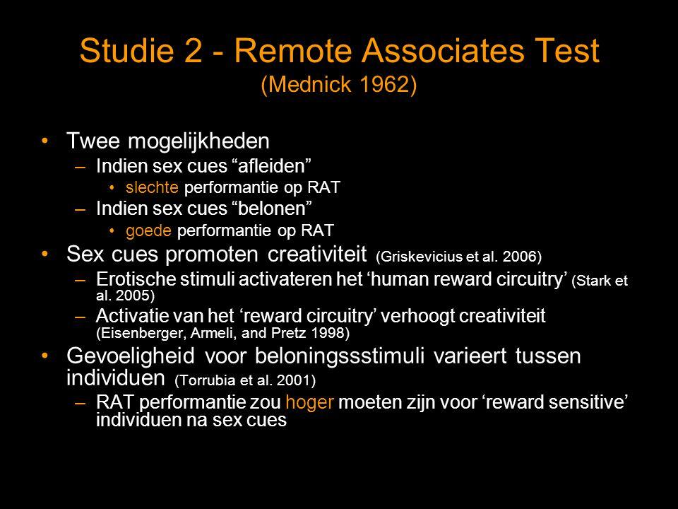 Studie 2 - Remote Associates Test (Mednick 1962) Twee mogelijkheden –Indien sex cues afleiden slechte performantie op RAT –Indien sex cues belonen goede performantie op RAT Sex cues promoten creativiteit (Griskevicius et al.