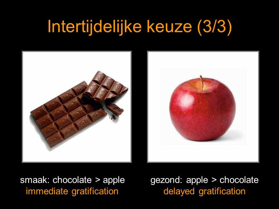 Intertijdelijke keuze (3/3) smaak: chocolate > apple immediate gratification gezond: apple > chocolate delayed gratification