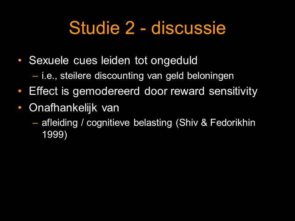 Studie 2 - discussie Sexuele cues leiden tot ongeduld –i.e., steilere discounting van geld beloningen Effect is gemodereerd door reward sensitivity Onafhankelijk van –afleiding / cognitieve belasting (Shiv & Fedorikhin 1999)