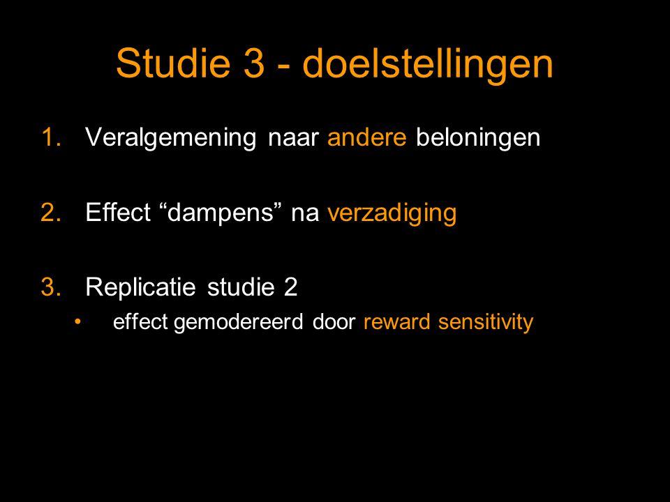 Studie 3 - doelstellingen 1.Veralgemening naar andere beloningen 2.Effect dampens na verzadiging 3.Replicatie studie 2 effect gemodereerd door reward sensitivity
