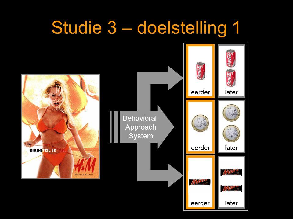 Studie 3 – doelstelling 1 Behavioral Approach System eerderlatereerderlatereerderlater