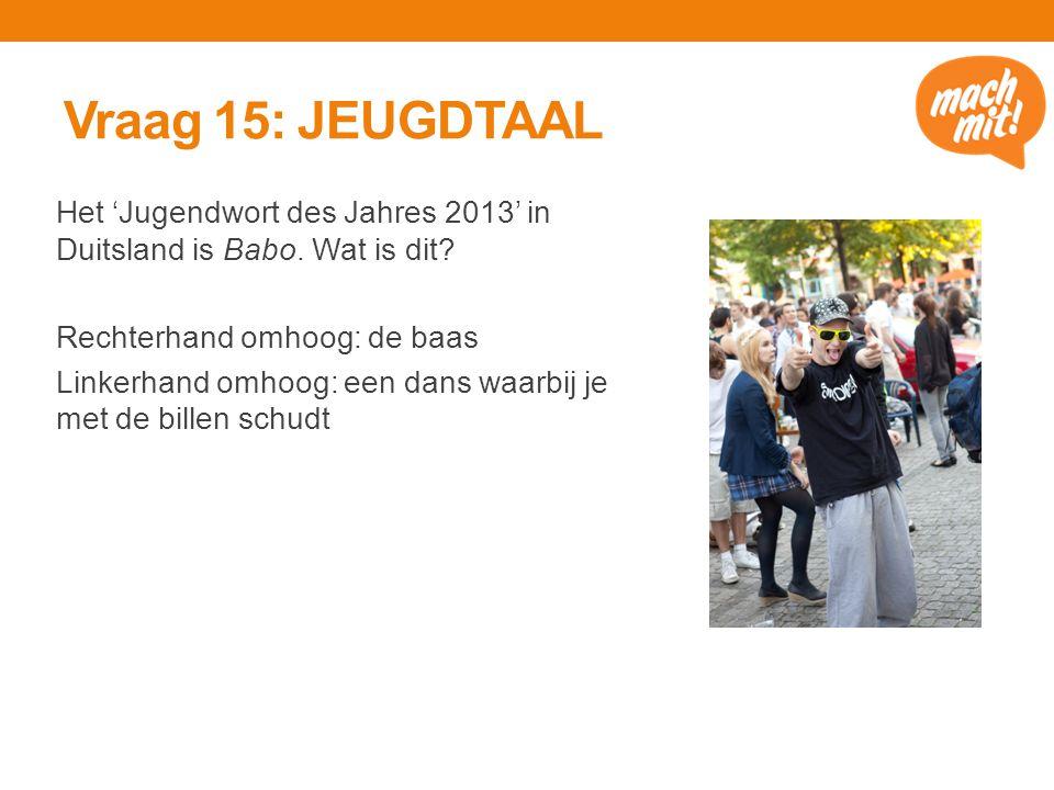 Vraag 15: JEUGDTAAL Het 'Jugendwort des Jahres 2013' in Duitsland is Babo.