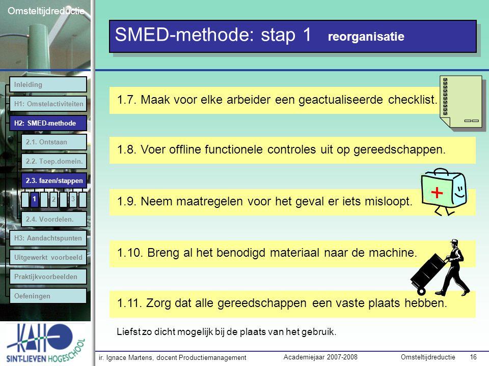 ir. Ignace Martens, docent Productiemanagement OmsteltijdreductieAcademiejaar 2007-2008 16 Omsteltijdreductie SMED-methode: stap 1 reorganisatie 1.8.