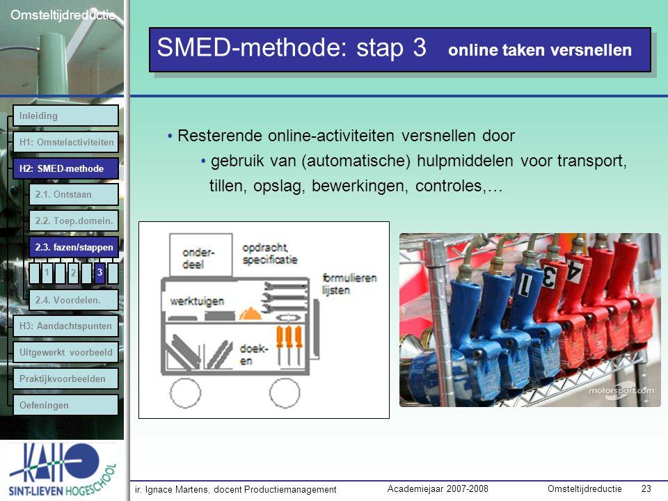 ir. Ignace Martens, docent Productiemanagement OmsteltijdreductieAcademiejaar 2007-2008 23 Omsteltijdreductie 3 SMED-methode: stap 3 online taken vers