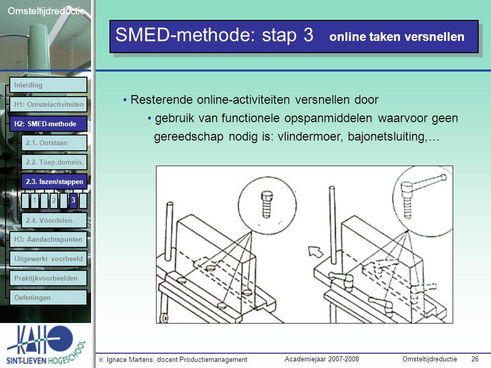 ir. Ignace Martens, docent Productiemanagement OmsteltijdreductieAcademiejaar 2007-2008 26 Omsteltijdreductie SMED-methode: stap 3 online taken versne