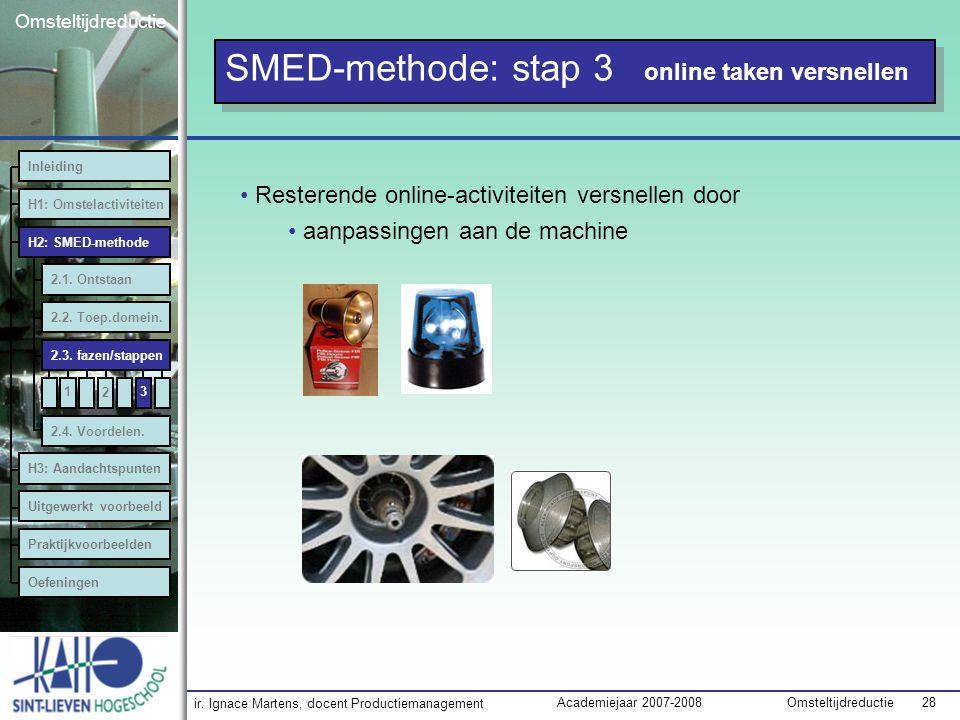 ir. Ignace Martens, docent Productiemanagement OmsteltijdreductieAcademiejaar 2007-2008 28 Omsteltijdreductie SMED-methode: stap 3 online taken versne