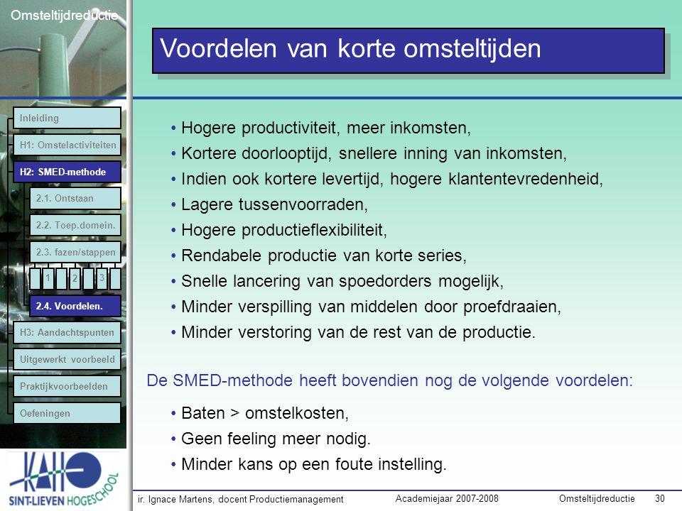 ir. Ignace Martens, docent Productiemanagement OmsteltijdreductieAcademiejaar 2007-2008 30 Omsteltijdreductie Voordelen van korte omsteltijden Hogere